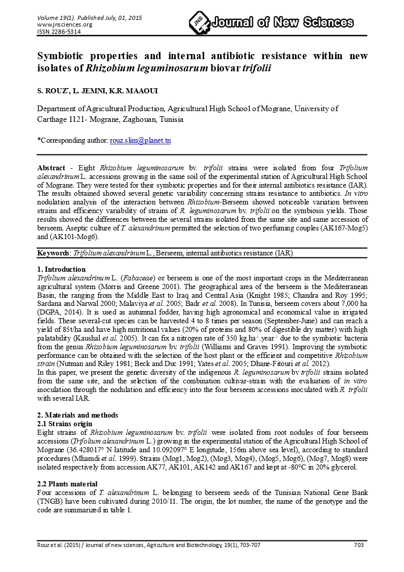 Symbiotic properties and internal antibiotic resistance